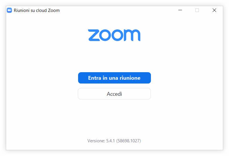 Immagine schermata ZOOM: entra in riunione. Formazione in videoconferenza